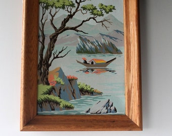 Vintage Paint By Number Painting titled Oriental Lakes by Craftint Paint Mid Century 1962  Asian PBN Framed Wall Hanging