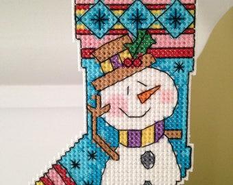 New Snowman Stocking Christmas Cross Stitch Ornament