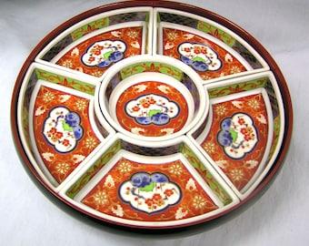 Vtg 1970s Japanese Revolving Relish Set 6 Porcelain Dishes Takahashi Japan Lazy Susan Food Presentation