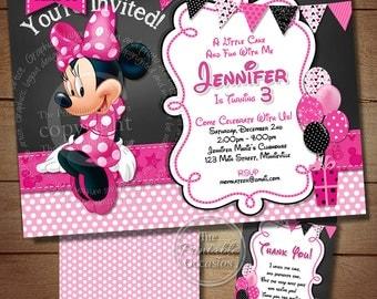 HUGE SELECTION Chalkboard Minnie Mouse Birthday Invitation