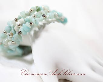 Aquamarine Amazonite Chip and Silver Bead Gemstone Adjustable Memory Wire Coil Wrap Bangle Bracelet with Silver Wire