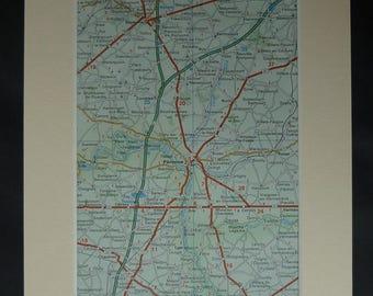 1980s Vintage French Map of Peronne, Somme Gift, Retro Combles Decor, Available Framed, Aisne Art, Hauts-de-France Picture, Doingt Wall Art