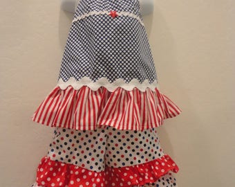 4th of July Party Dress, Size 2 Ruffled Outfit, 2 Piece Summer Outfit, Memorial Day , Polka Dot Ruffled Outfit, Red White Blue Toddler Dress