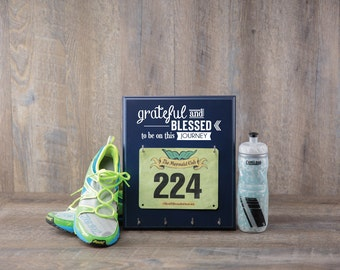 Running Medal Holder - Race Bib Holder - Grateful and Blessed to be on this Journey