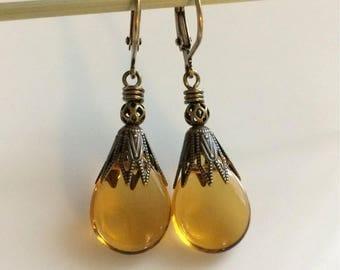 Golden Yellow Glass Earrings  Bohemian Earrings  Czech Glass Teardrops  Boho Earrings  Leverbacks  Gypsy Dangles