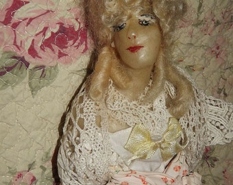 Antique Vintage Half Wax BOUDOIR  DOLL Bust