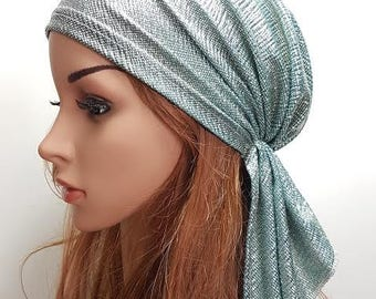 Shiny Turquoise Green Head Scarf, Lycra Tichel, Shimmering Bandana, Headscarves, Chemo Hat, Chemo Headwear, Hair Covering, Sigal Shleifer