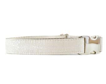 Ivory Metallic Mini Dots Collar - Champagne Polkadots Metal Buckle Wedding Dog or Cat Collar
