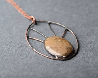 large statement necklace, brown gemstone pendant, boho jewelry, natural mineral, copper necklace, birthday gift for women