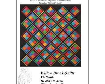 """Pattern """"Jewel Magic"""" Quilt Pattern by Willow Brook Quilts (WBQ209) Paper Pattern"""