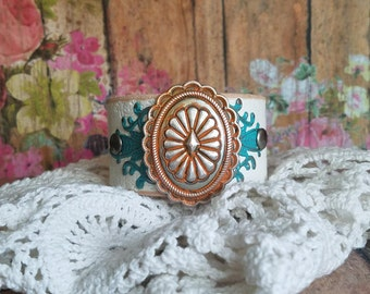 Turquoise & Orange SuNbuRsT Concho Leather Cuff Bracelet> Native Style Jewelry/ Southwestern/ Western Jewelry/ Country Boho Gypsy/ Wristband