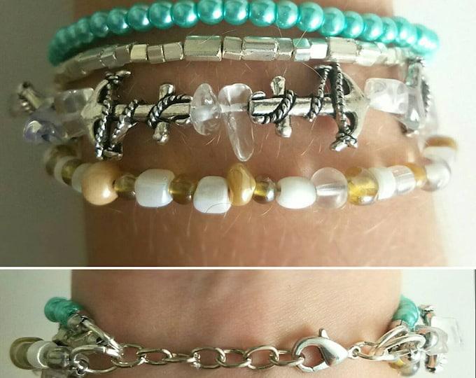 Teal Seafoam Green Tan Sand White Anchor Beaded Beach Bracelet