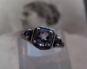 Lovely Sterling Silver Brazilian Amethyst  3 stone filigree  Ring  Size 8 3/4