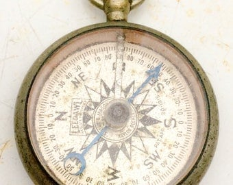working antique COMPASS - Leedawl  Short & Mason - Taylor -PAT.  Rochester, NY. 1915 pocket watch fob, steampunk pendant