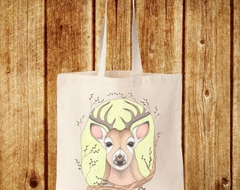 Deer Eco Tote Bag - Woodland Meadow Stag Deer 100% Recycled Cotton Canvas Tote Bag - Plus Free Mini Card Gift