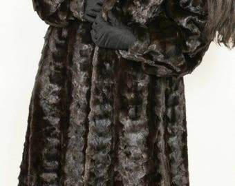 Genuine Black MINK Fur Coat MINT Condition Beautiful Coat Sz Large-XL