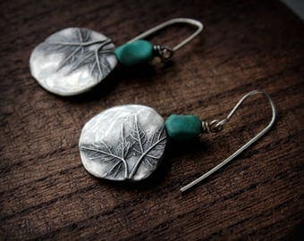 jewelry earrings sterling silver and turquoise maple leaves silver modern rustic jewelry drop earrings