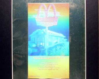 Holographic McDonalds back cover 1988  National Geographic Cover/ Magazine/vintage magazine photographic art/cool men's gift/ Golden Arches