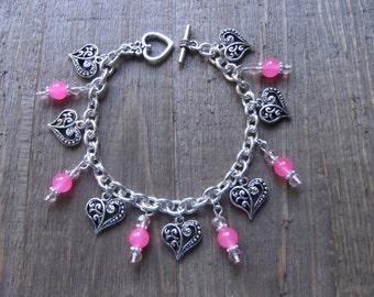 Pink Jade Filigree Heart Bracelet - Heart Bracelet, Silver Heart Bracelet, Silver Heart, Valentines Day, Romantic Bracelet, Love Bracelet