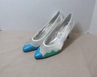 1980s Vintage Sesto Meucci of Florence, Italy, High Heel Shoes, Sz 8.5 AA, White Net with 3 Colors, 2.75 In. Heels, UNWORN, Vintage Shoes