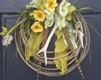 Western Woodland Lariat Rope Spring Summer Yellow Rose Door Wreath