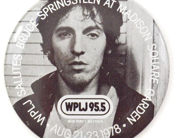 Vintage 70s Bruce Springsteen at Madison Square Garden WPLJ Promotional Big Pinback Button Pin Badge