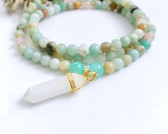 Amazonite Mala, Mala Necklace, Mala Beads, Amazonite Beaded Necklace, Mala, Yoga Necklace, Prayer Beads, 108 Mala Beads, Yoga Jewelry, MAQC