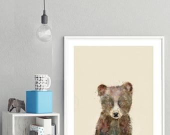 little brown bear .baby animal portraits.nursery wall art.children's wall decor.nature wall art.little animals art. Giclee fine art prints .