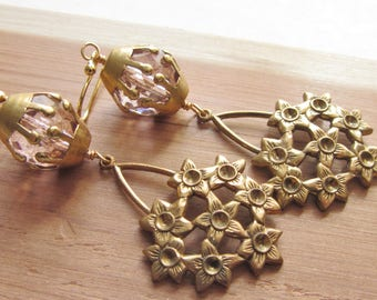 Gold and Pink Bouquet of Flowers Dangle Earrings, Light Pink and Antique Gold, Spring Floral Jewelry