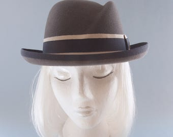 Women's Hat. Gray Fur Felt Homburg. Women's Fedora. Vintage Style Hat. Sculpted Crown, Navy & Beige Ribbon. Designer Millinery. Bowler Hat.
