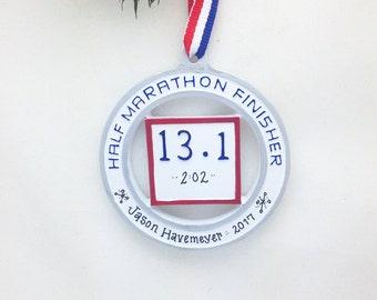 Half-Marathon Runner Personalized Christmas Ornament / Personalized Half-Marathon Ornament / Running Ornament