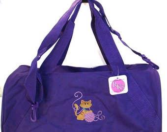 Playful Cat & Yarn Ball Dufffel Pet Bag Cute Kitten + Free Name Monogram Custom Embroidered