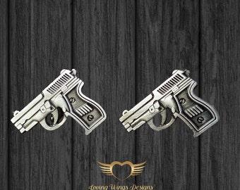 Handgun Cufflinks- Mens Cuff links with a Gift Box - Groomsman, Gun, firearm, pistol, NRA