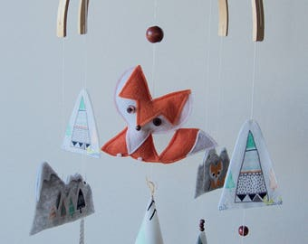 Teepees & Fox Baby Mobile - Mint/Orange/Grey or Mint/Orange/Navy - MADE TO ORDER