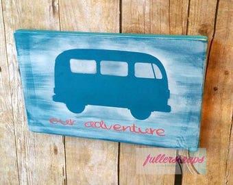 wooden sign with old school van