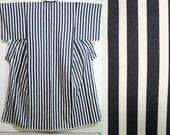 Japanese black white striped kimono, striped kimono, minimalist polyester komon, Vintage kimono, authentic kimono robe, modern kimono hime