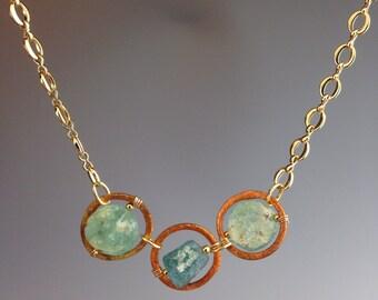 "Roman Glass Necklace ~ Roman Glass jewelry ~ Gold jewelry ~ statement necklace ~antiquity jewelry ~ Cool Gift ~ Unique jewelry ~ ""Roman Suns"