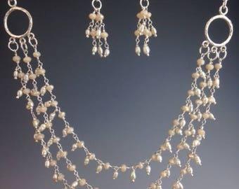Pearl Bib Necklace - Three strand Necklace - Pearl Necklace - Bridal Jewelry - Wedding Necklace - Bridal Necklace -Victorian Pearls