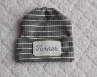 Newborn Hospital Hat. Newborn Hospital Beanie. Gender Neutral Hospital Hat. Grey Newborn Hat. Personalized Newborn Hat. Newborn Name Hat.