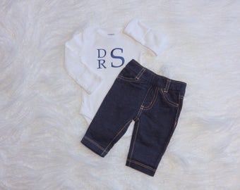 Baby Boy Coming Home Outfit. Monogram Bodysuit. Stretchy Jean Pants. Coming Home from Hospital. Newborn Baby Boy Outfit