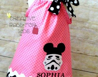 Star Wars Dress/ Stormtrooper Dress/ Stormtrooper Mickey Dress/ Star Wars Girls Dress/ Personalized Star Wars Dress (matching bag available)