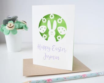 Bunny Easter card - Personalised easter card - First Easter - bunny - Easter bunny