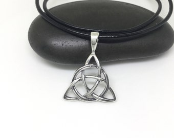 Celtic Necklace Sterling Silver Triquetra Pendant Large Trinity Knot Charm Celtic Jewelry 925 Silver Mens Necklace