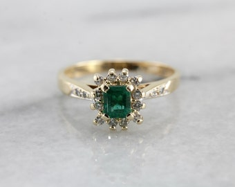 Emerald Dinner Ring with Diamond Halo in Yellow Gold Z2DY8W-P