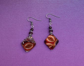 red leaf earrings, autumn earrings, autumn jewelry, autumn jewellery, asian earrings, african earrings, leaves earrings, deep red dangle