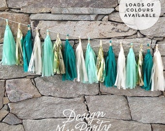 Mermaid Glam Garland - Teal, Mint And Gold Tassel Garland