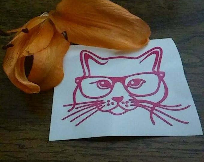 Hipster Kitty Cat Glasses Vinyl Decal FREE SHIPPING