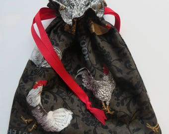 Rooster - Lined Drawstring Fabric Gift Bag