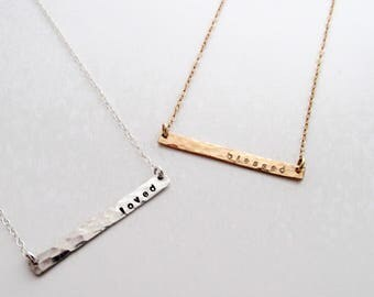 Skinny Bar Necklace, Word Necklace, Personalized Jewelry, Gifts for Mom, Personalized Gifts for Women, Gold Fill, Sterling Silver