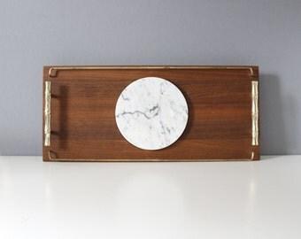 Vintage Teak & Marble Serving Tray Cheese Platter Mid Century